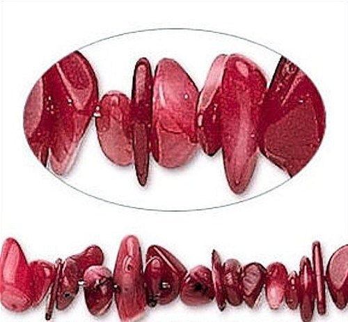 """15"""" Gorgeous Cherry Red Coral 5-10mm Small to Medium Chip Beads *"""