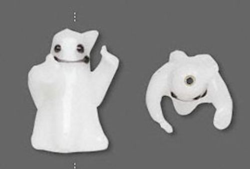 4 White Ghost Halloween Lampwork Glass Beads ~ 21x15x12mm