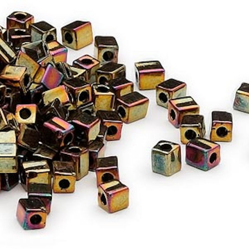 25 Grams Miyuki Opaque Metallic Fuchsia 3.5-3.7mm Square Glass Beads (sb462)