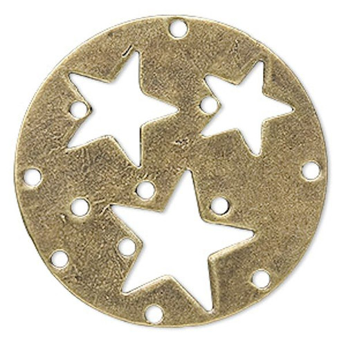 10 Antiqued Brass Pewter with Stars Connector Base ~ 40mm  *