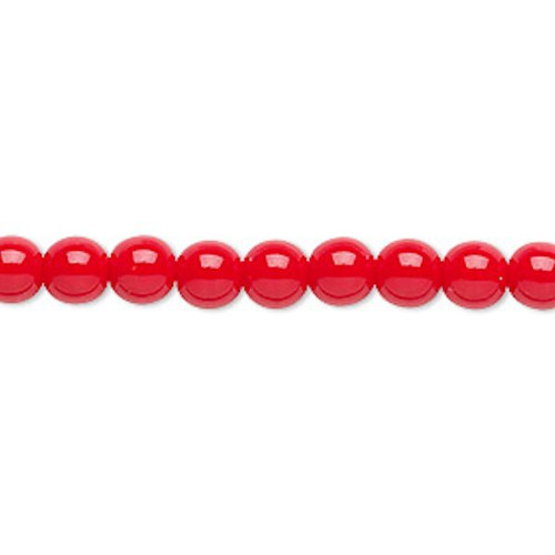 1 Strand Czech Druk Glass Round Opaque Red Beads ~ 6mm