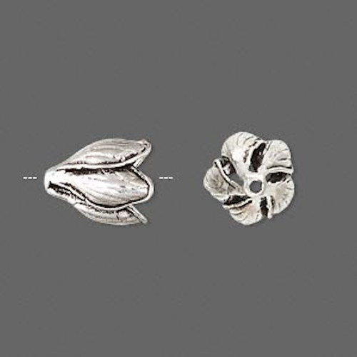 1 Antiqued Sterling Silver Flower Bead Cap ~ 13x11mm ~ Fits 8mm Bead