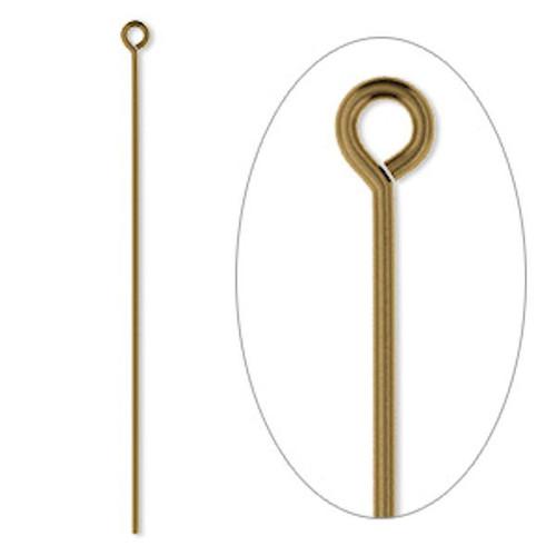 "100 Antiqued Gold Plated Brass 2"" Long 21 Gauge Eyepins"