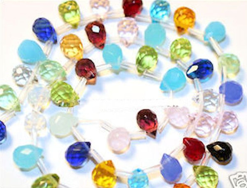 50 Fabulous 9x6mm Mixed Colors Faceted Glass Crystal Teardrops