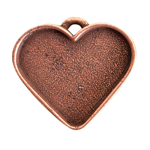 1 Antiqued Copper Plated Pewter Large Heart Bezel Pendant