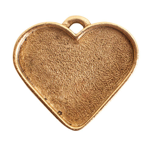 1 Antiqued Gold Plated Pewter Large Heart Bezel Pendant