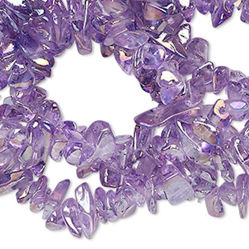 "34"" Strand Aurora Borealis Purple Glass Chip Beads ~  4-9mm"