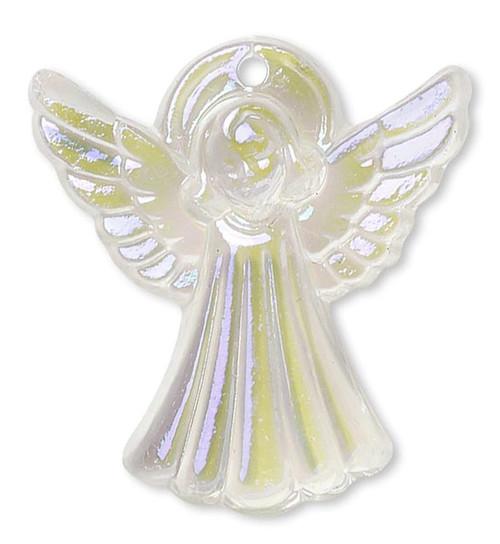 1 AB Blue Glacier Crystal Glass 21x20mm Angel Charm Pendant