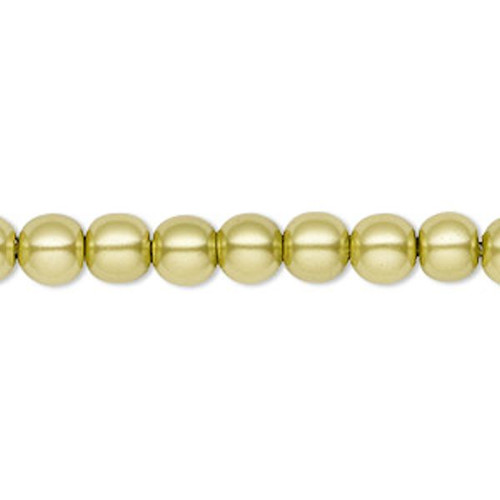 1 Strand Hemalyke Magnetic Pearl 6mm Round Peridot Green Beads with 0.5-1.5mm Hole *