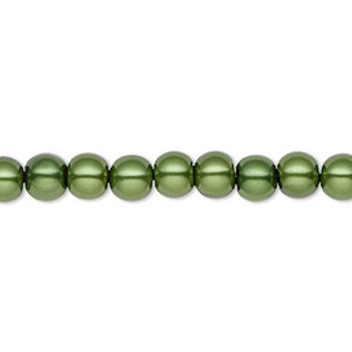 1 Strand Hemalyke Magnetic Pearl Emerald Green 6mm Round Beads with  0.5-1.5mm Hole