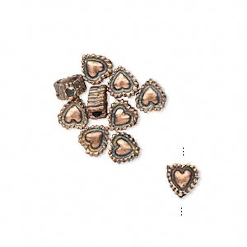 10 Antiqued Copper 5.5x3.5mm Heart Rondelle Beads  *