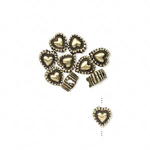 10 Antiqued Brass  Plated Pewter 5.5x3.5mm Heart Rondelle Beads *