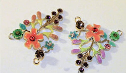 1 Peach Flower Leaves Focal Connector with Crystals ~ 37x44mm  *  np