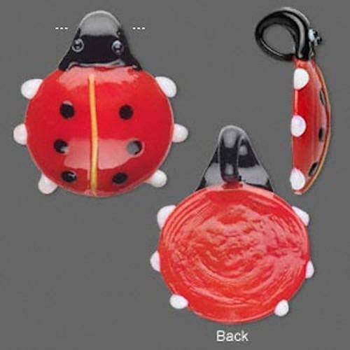 1 Large Black Red Glass 38x35mm Ladybug Pendant *