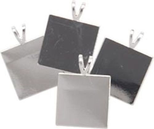 4 Silver Plated Square Pendant Plates with Bails