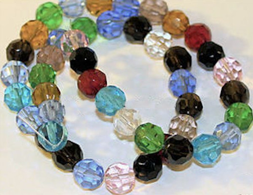 1 Strand Mixed Colors Faceted Glass 7-8mm Round Beads