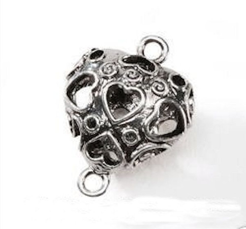 1 Antiqued Silver Plated 25x19mm Puffed Double Sided Heart Connector   *
