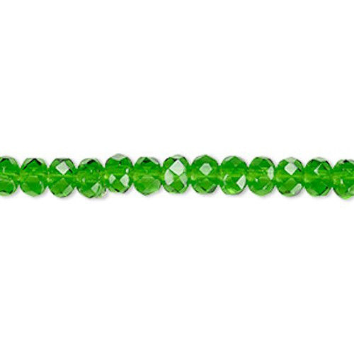 1 Strand Czech Fire Polished Glass Rondelle Beads ~ 5x4mm ~  Emerald Green
