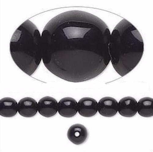 1 Strand Czech Druk Glass Beads Opaque Jet Black ~ 6mm