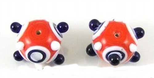 2 Large 20x34mm Red White Blue Bumpy Lampwork Glass Beads *