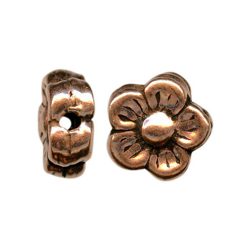 1 Strand Handmade Antiqued Copper 10mm Double Sided Daisy Flower Beads