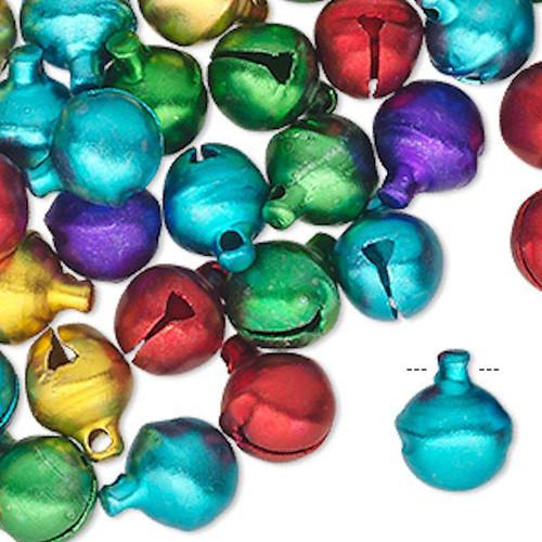 100 Jewel Tones Aluminum Jingle Bells  ~ 10mm