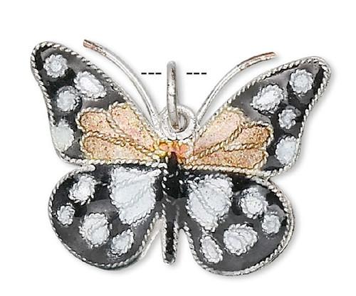 1 Black Gold White 24x18mm Butterfly Cloisonné Charm Pendant