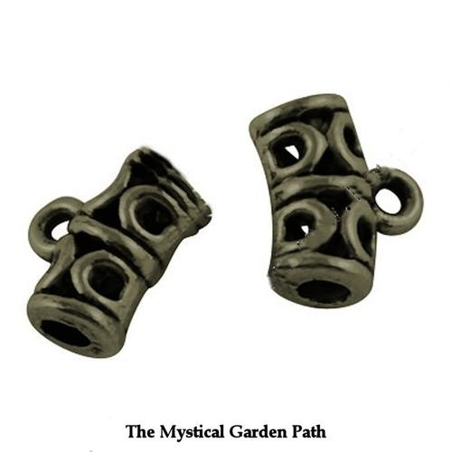 50 Tibetan Bronze Antiqued Gold Filigree Tube Slider Bail Charm Hangers  *