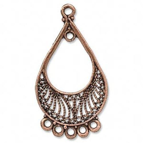 1 Pair Antiqued Copper Teardrop Chandelier Earrings  *