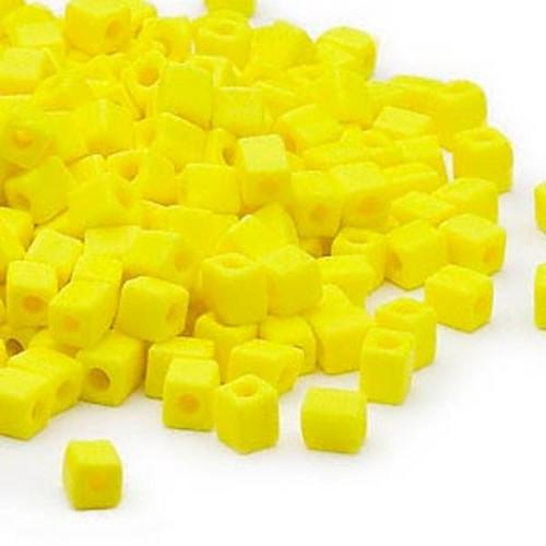 25 Grams Miyuki Opaque Frost Yellow 3.5-3.7mm Square Glass Seed Beads (SB404F) *