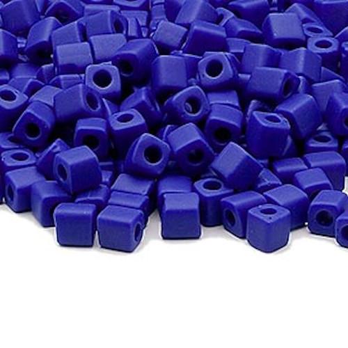 25 Grams Miyuki Opaque Frost Cobalt Blue 3.5-3.7mm Square Glass Seed Beads (SB414F) *