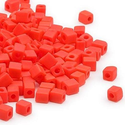 25 Grams Miyuki Opaque Frost Orange 3.5-3.7mm Square Glass Seed Beads (SB406F) *