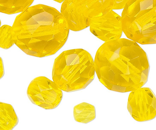 100 Czech Fire Polished Glass Jonquil Yellow Mix Faceted Round Beads