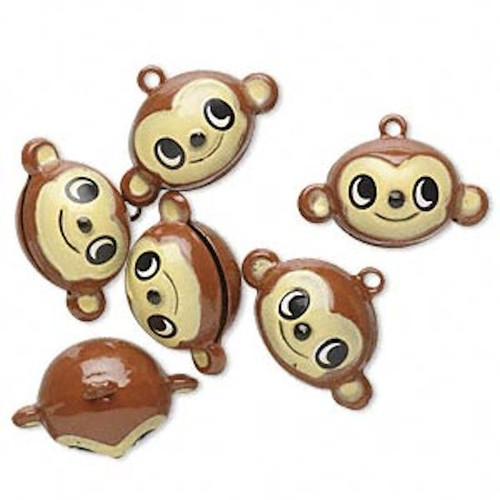 6 Adorable Brown Monkey Bell Charms ~   24x15mm