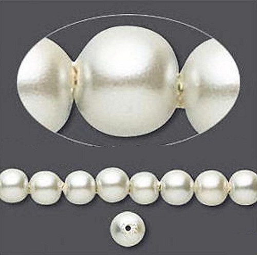 1 Strand Hemalyke Magnetic Pearl Beads ~ 6mm  Antique White with 0.5-1.5mm Hole