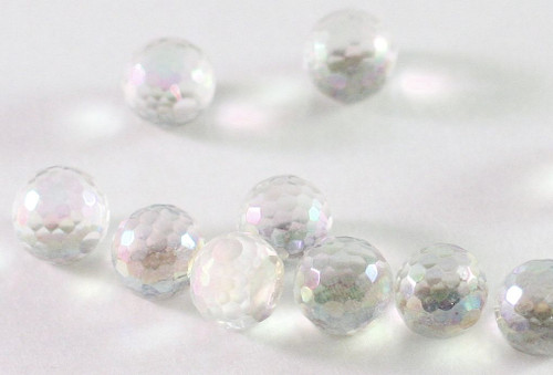 10 AB Clear 6mm Flat Bottom Faceted Round Glass Embellishments *