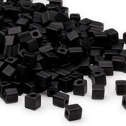 25 Grams Miyuki Opaque Frosted Black 3.5-3.7mm Square Glass Seed Beads (SB401F)