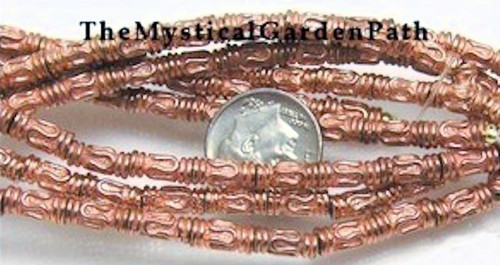 1 Strand Shiny Copper Plated Pewter Greek Tube Beads ~ 4x9mm  *