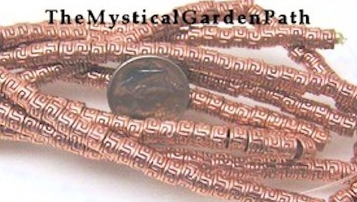 1 Strand Shiny Copper Plated Pewter Greek Tube Beads ~ 3x4.5mm *