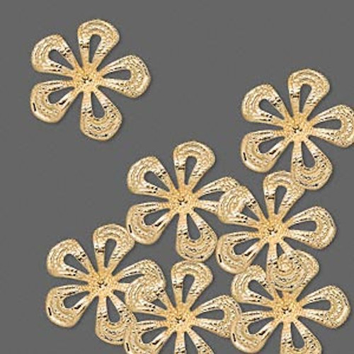 50 Gold Plated Brass Curved Flower Drop Links ~ 14.5x14.5mm  *