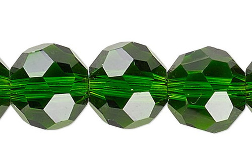 1 Strand Emerald Green 32 Facets Round 8mm Crystal Glass Beads