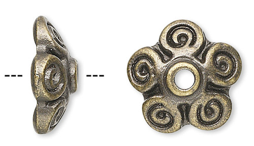10 Antiqued Brass Pewter 10x3mm Filigree Bead Caps to Fit 10-12mm Beads