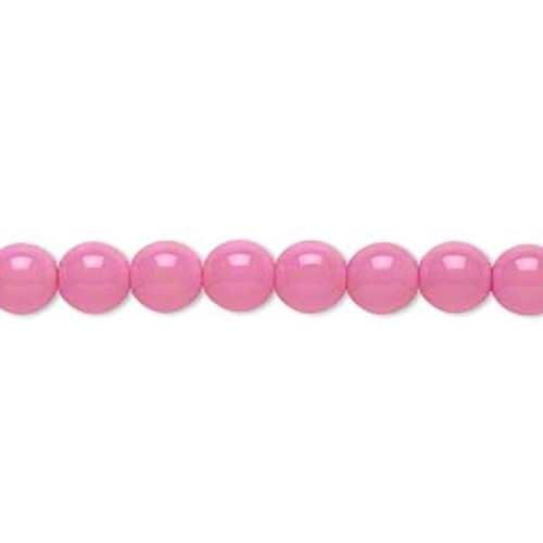1 Strand Czech Druk Glass Round Bubblegum Pink Beads ~ 6mm *