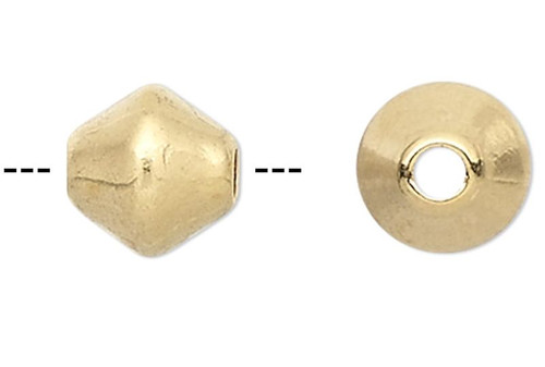 100 Gold Plated Brass 6x6mm Smooth Double Cone Beads