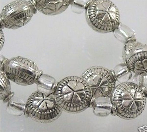 1 Strand Antiqued Silver Plated Round Coin Spacer Beads ~ 5x7mm  *