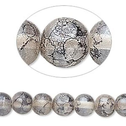 1 Strand Black Grey Speckled  9-10mm Round Glass Beads *