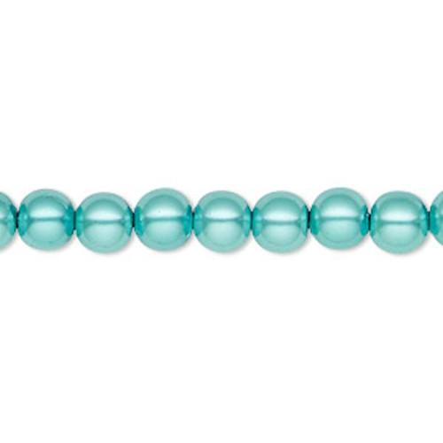 1 Strand Hemalyke Magnetic Light Teal Blue 6mm Round Pearl Beads