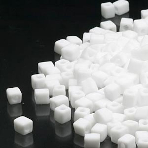25 Grams Miyuki Opaque Frost White 3.5-3.7mm Square Glass Seed Beads (SB402F) *