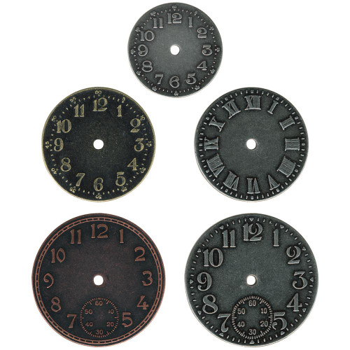 5 Tim Holtz Idea-ology Timepieces ~ Antique Nickel, Brass & Copper Clock Faces