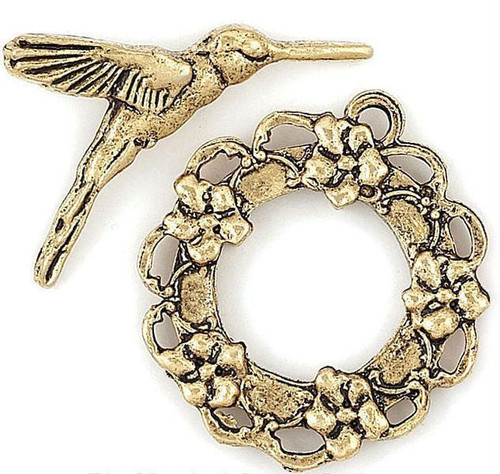 4 Sets Antiqued Gold Plated Pewter Hummingbird & Wreath Toggle Clasps  *